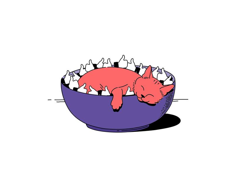 👍 like my cat 🐈 bowl cats food vector illustration likes cat