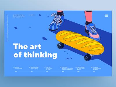 👨🎨The art of thinking 🙏🏼 sneakers legs man vector websites socks adidas nike skateboard bread illustration web