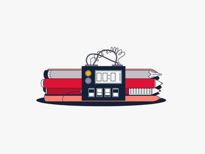 🤩 Your design is a bomb, man! 💣  vector pencil pen bomb illustration