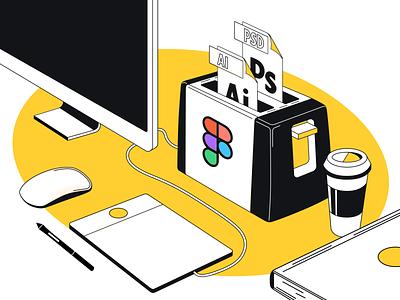 🔥Figma vc Adobe 🍞 book coffee cup imac mousepad list toast toaster vector photoshop figma illustration