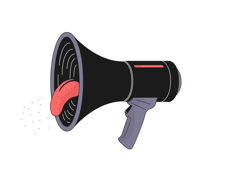 📣Scream! 😱 hand tongue megaphone scream vector illustration