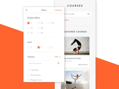 Yoga International - Courses Search Filters courses filter search mobile design classes responsive website yoga ux ui