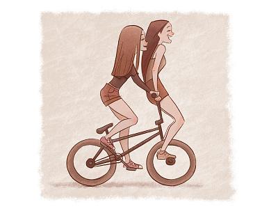 Girls smiling smile laughing laughter summer fun bicycle bike girls girl