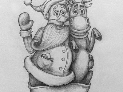 Old Friends santa claus christmas reindeer present gift paper sketch drawing illustration