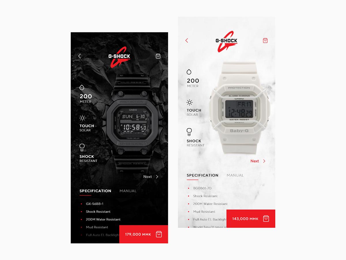 G-Shock App UIDesign uidesigner uxdesigner burma myanmar watch lightui darkui gshock clock uiuxdesign uxuidesign ecommerce ecommerceapp uxui uiux