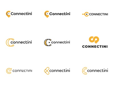 Connectini - logo variations (WIP) wip car app car management carservice car connections connect map marker web app icon illustrator draft branding vector logo