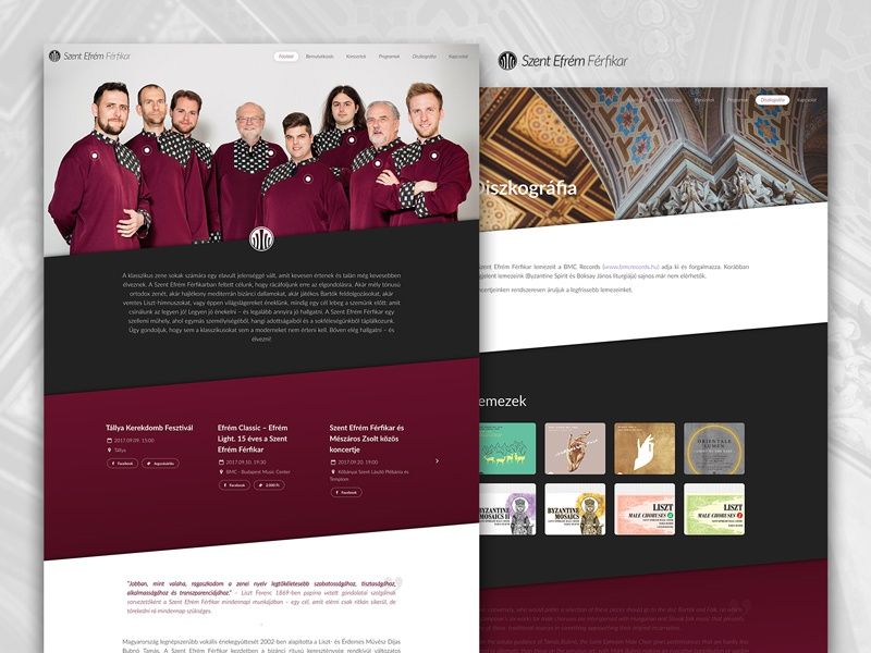 Saint Ephraim Male Choir website ux ui saint musician music concerts parallax red choir male sitebuild webdesign