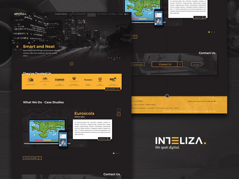 Inteliza Webdesign sketch responsive user interface ui website web inteliza gold yellow black parallax webdesign