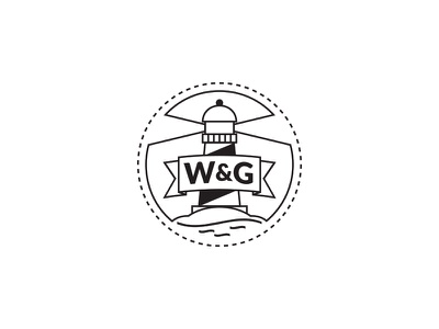 Werner&Gossler - wedding stamp line island water lighthouse illustrator round simple logo stamp wedding