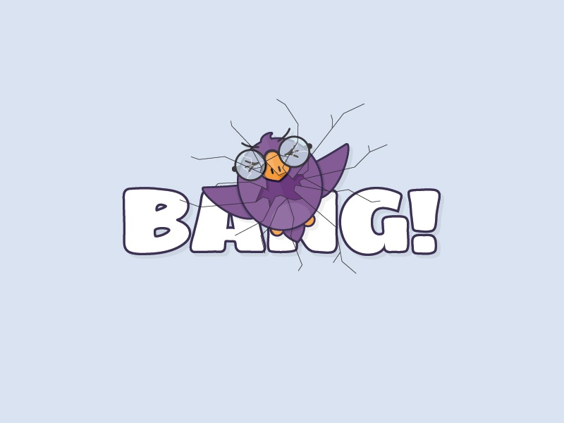 Bang! crack glasses cartoon illutrator illustration ouch accident car window crash bang bird