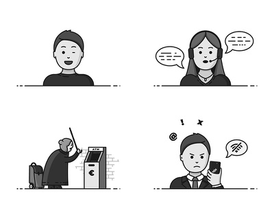 Monochrome characters bankomat atm face icon call center angry old lady telecom telecommunications black and white monochrome characters
