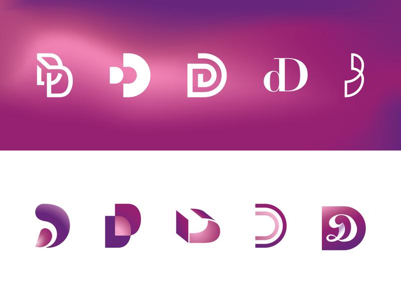 Double D picto delta letter d set lines digital logo mauve mallow crimson purple pink vector ds dees dee double letter design illustration