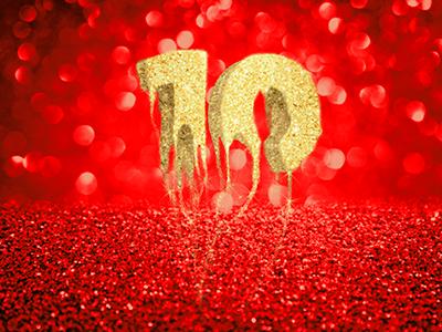 Golden 10 melt drop fade consuming sparkling sand red bokeh treasure digit one zero number one 0 1 10 ten number golden gold