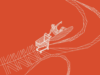 K Shopping hand drawn grid lines wireframe bambou gravé bamboo surfer caddie letter k wave surfing surf shopping cart cart shopping shop