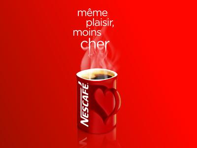 Nescafé love cup evaporation smoking pleasure fading fade text evaporate shape handle heart mug red hot smoke fog steam café coffee