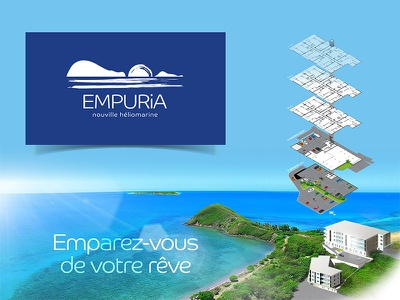 Empuria appartment flats 3d view ocean horizon lagoon paradise construction building architecture isometric hills sun landscape illustration logo dream residence real estate
