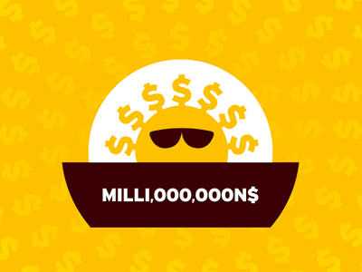 MILLI,OOO,OOON$ symbol logo illustration bill millionaire rich showoff attitude shades sunglasses sunny yellow shine sunshine sun dollar cash money millions million