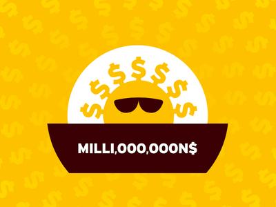 MILLI,OOO,OOON$ symbol logo illustration bill millionaire rich showoff attitude shades sunglasses sunny yellow shine sunshine sun dollar cash money millions million