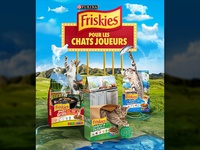 Friskies cats coming out creative packaging retouch fish ball barbecue animal animals shapes clouds sky rivers mountains landscape photoshop kitty cat food croquettes friskies