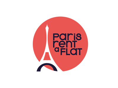 Paris Rent A Flat Logo rounded long type house immobilier real estate appartment flat golden ratio creative logo illustration rentals rental rent eiffeltower tower eiffel tower eiffel paris