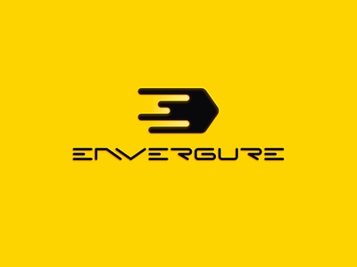 E N V E R G U R E gorilla comet wide wingspan graphic agency hot solar light yellow environment span letter e fast ai logo illustration design guru envergure