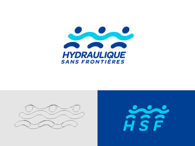 Hydraulic without borders illustration hydraulic share dance organisation ngo dancing man men stickman stickmen logo wave water equity solidarity