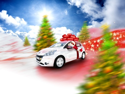 Fast and joyful funny photoshop noel peugeot stars mountains up thumbs drive fast santa klaus santa claus santa christmas xmas tree snow ribbon knot car