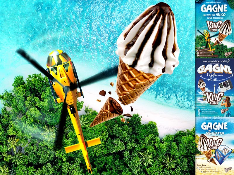 Cornetto King Cone ocean beach cream ice selfie jetski helicopter chocolate cone king cornetto socalait
