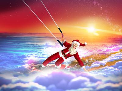 Kitesurfing Santa Claus wind drawing illustration fun merry happy kitesurf surf kite dawn sunrise sunset above sky clouds claus klaus santa christmas xmas