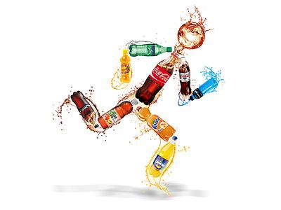 Bottle run energy fast drinks drink soda water sprint run man splash orangina powerade power sprite tea coke coca-cola