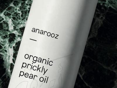 anarooz typography minimal tube organic branding logo prickly pear argan oil packaging