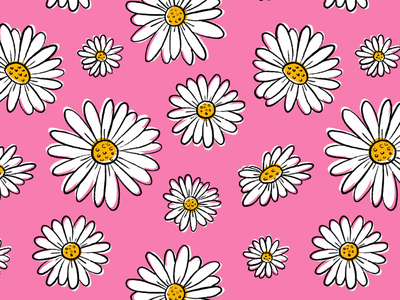Pop Daisies on Pink pink pattern daisies daisy floral summer flower