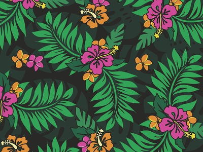 Tropical Flower Pattern hawaiian graphic leaves hibiscus pattern florals floral flowers flower tropics tropic tropical