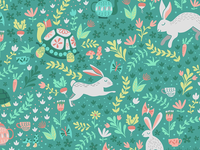 Spring Pattern with bunnies and turtles