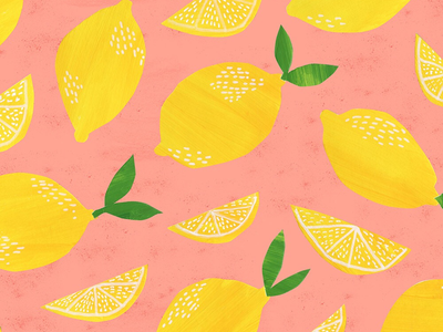 Pink Lemonade Illustration lemonade lemon pink yellow summer fruit lemons illustration