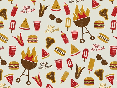 Kiss the Cook Summer BBQ Pattern illustration burger hot dog corn grill kiss the cook summer pattern