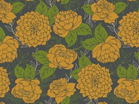 Floral Pattern in Yellow and Grey