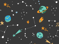 Hand drawn space pattern