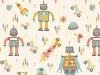 Space Robot Pattern - Close up