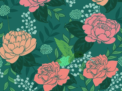 Teal Victorian Floral Pattern with Hummingbird