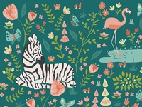 Zebra Pattern in Green and Pink Palette