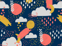 Abstract Weather in Coral + Blue