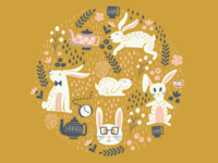 Hipster Spring Bunnies on Gold