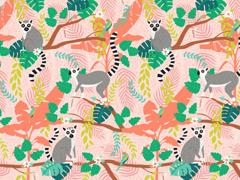 Ring-tailed Lemurs in a Pink Jungle green teal coral pink tropical jungle leaves pattern design animals summer lemur
