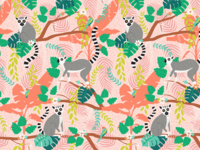 Ring-tailed Lemurs in a Pink Jungle