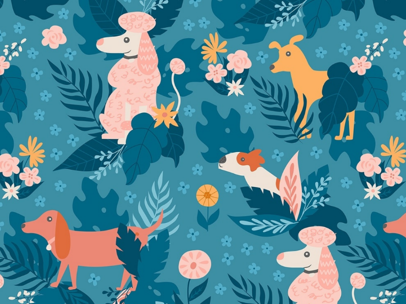 Whimsical Jungle Dog Pattern pattern design flower floral pink blue jungle retriever dachshund poodle