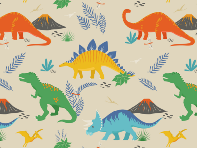 Jurassic Dinosaurs in Primary Colors
