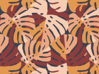 Color Blocking Monsters Leaf Pattern - Maroon
