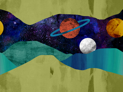 Lunar Landscape planet illustration moon outer-space saturn painting collage outer space space