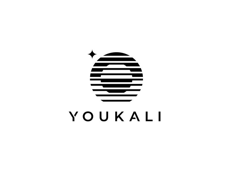 Youkali negative space geometric sunset sun mark logo